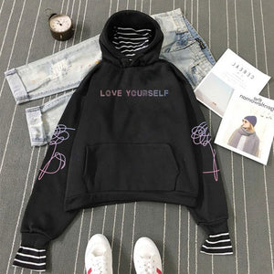 Bangtan Boys Kpop Hoodies bts album Love Yourself Sweatshirts Striped Patchwork Hoodies Pullovers Women Winter Clothes A4044-cigauy