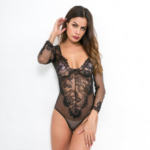 Deep V neck Black Lace Mesh Crochet Bodysuit Women Long Sleeve Slim Fit Catsuit Sexy High Street Bodysuits Tops Body Overalls-cigauy