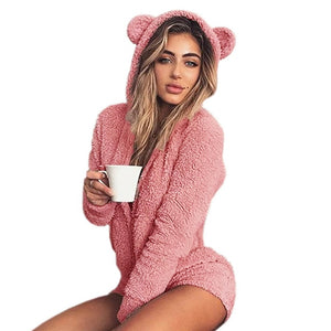 Autumn Femme Solid Rompers Sexy Casual Kawaii Winter Sweet Girls Playsuits Long Sleeve Fleece Hooded Overalls Plus Size M0003-cigauy