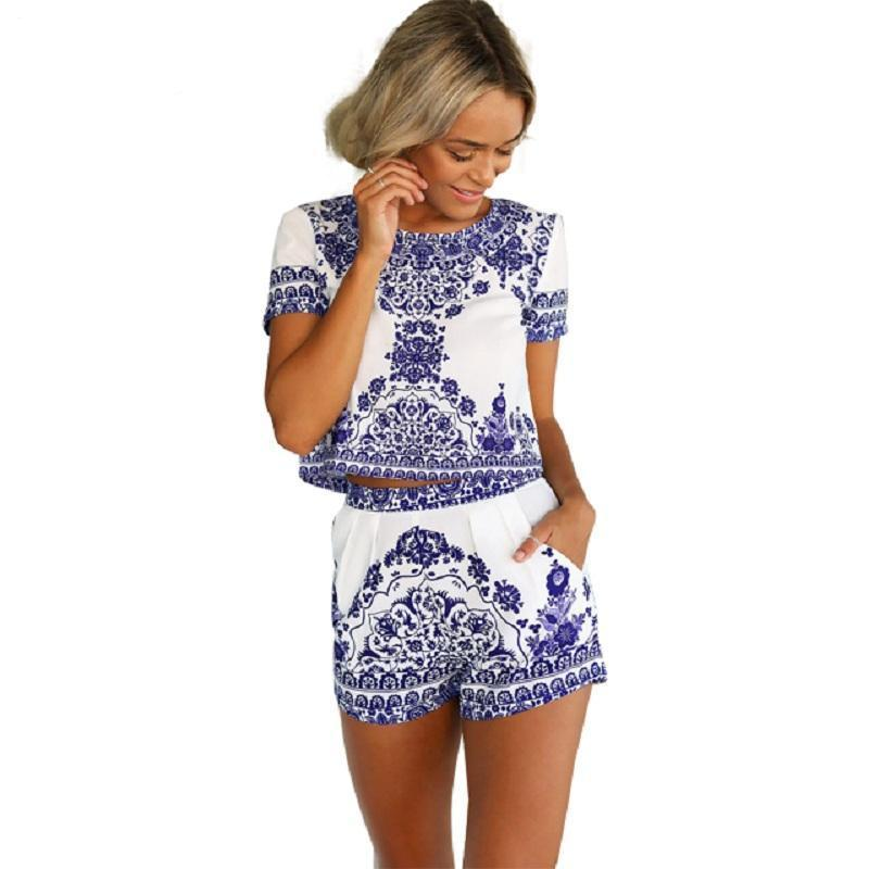 BerryGo Summer style porcelain print two piece jumpsuit romper Women short sleeve crop top playsuit female Vintage overall 2018-cigauy