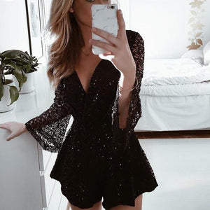 BerryGo Sexy lace gold sequin jumpsuit romper Women hollow out long flare sleeve overalls Summer 2018 deep v neck black playsuit-cigauy