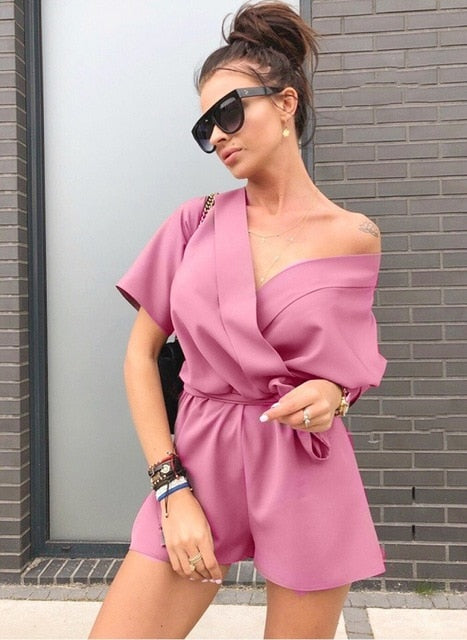 2018 New Summer Sexy V-neck Loose Jumpsuit Elegant Casual Beach Short Sleeved Party Playsuits Fashion Off Shoulder Rompers-cigauy