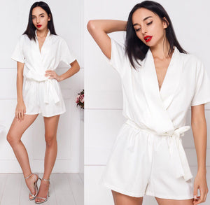 Summer new women's jumpsuit 2018 fashion loose solid color V-neck short-sleeved Rompers belt decorated elegant women's Playsuits-cigauy