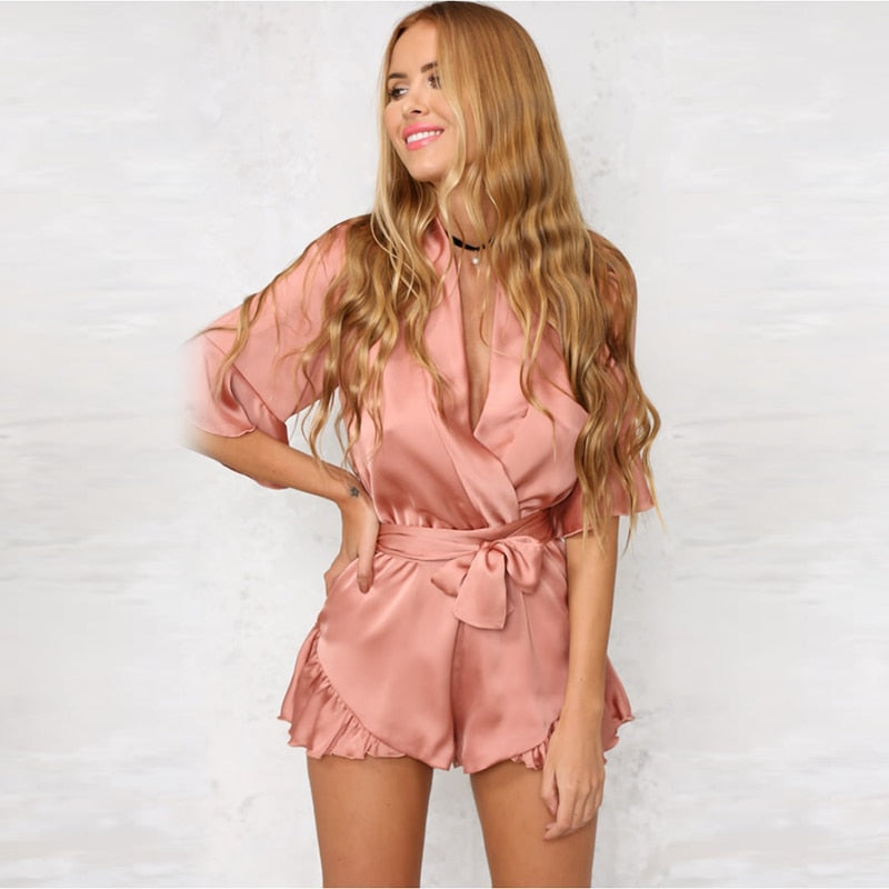 Women Jumpsuits Rompers Hot Sale 2018 Summer Elegant Deep V Neck Pink Silk Satin Casual Beach Playsuit Bodysuit Playsuit 6Q0434-cigauy