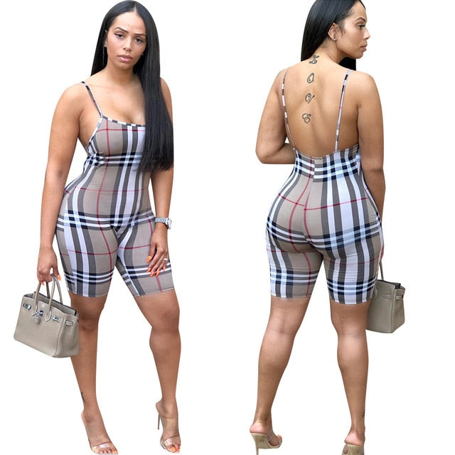 Sexy Plaid Spaghetti Strap Playsuit Backless Casual Overalls Women Bodysuit Summer Shorts Rompers Womens Khaki Pink Jumpsuit 3XL-cigauy