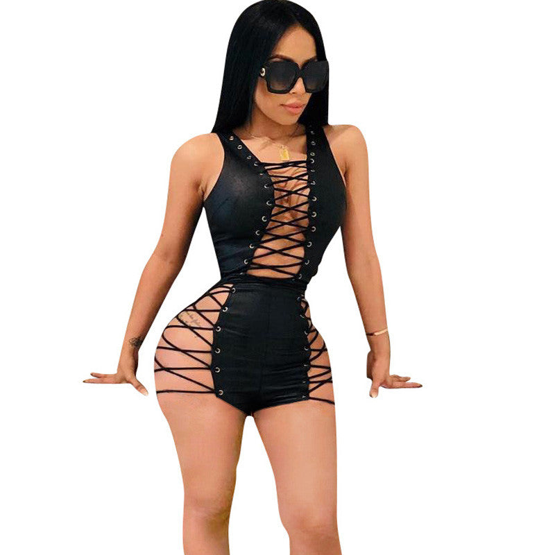 Sexy Club Bandage Bodysuits Women V-Neck Lace Up Hollow Out Clubwear Skinny Black Leather Jumpsuit Shorts Playsuits Combinaison-cigauy