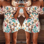 2018 Summer Short Jumpsuits Overalls For Women New Lady Floral Printed Playsuit Jumpsuit Beach Summer Off Shoulder Ruffle Romper-cigauy