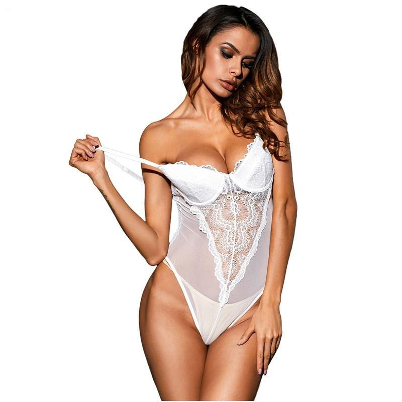 La Chilly Bodies Woman Summer Sexy Women Body Blanco Transparent White Lace Cup Mesh Bodysuit Lace Dardeur LC32175 Top Encaje-cigauy