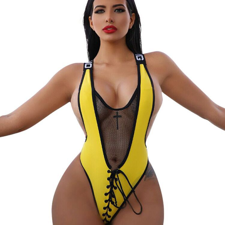 Sexy Bodysuit Ladies Sleeveless Lace Up Bandage One Piece Sexy Jumpsuit Beach Bodysuits LD8094-cigauy