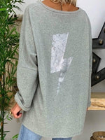 Long Sleeve V-Neck Mid-Length Loose Casual T-Shirt