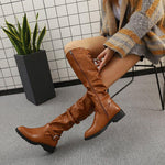 Block Heel Round Toe Side Zipper Plain Casual Buckle Boots