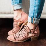 Round Toe Block Heel Hollow Buckle Casual Mid-Heel Shoes