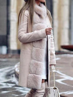 Patchwork Regular Straight Mid-Length Overcoat
