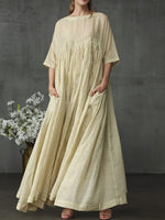 Pleated Three-Quarter Sleeve Floor-Length Pullover Casual Dress
