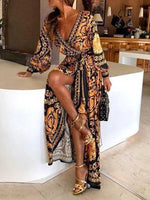 Long Sleeve Floor-Length Print Mid Waist Expansion Dress