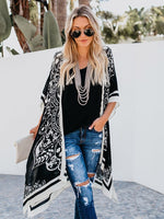 Wrapped Mid-Length Print Batwing Western Trench Coat