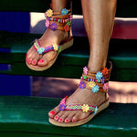 Zipper Flat With Thong Ethnic Sandals