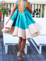 Patchwork Sleeveless Knee-Length Color Block Expansion Dress