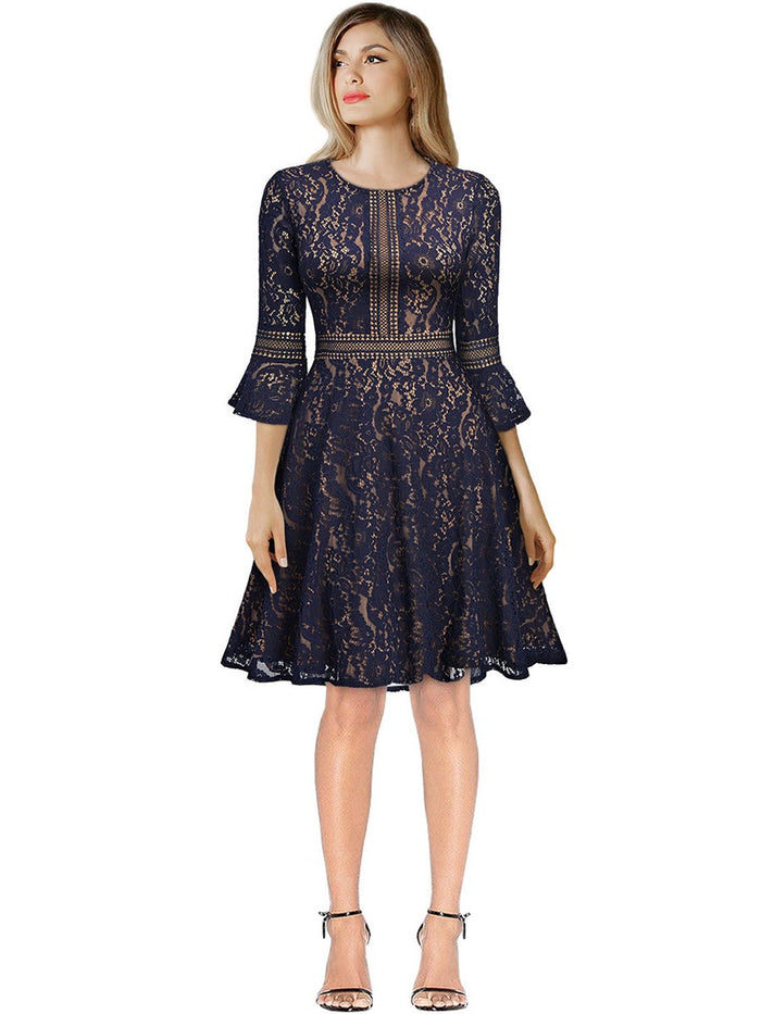 Flare Sleeve Elegent Lace A Line Dress