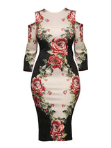 Women's Dress Floral Print Hollow Color Block