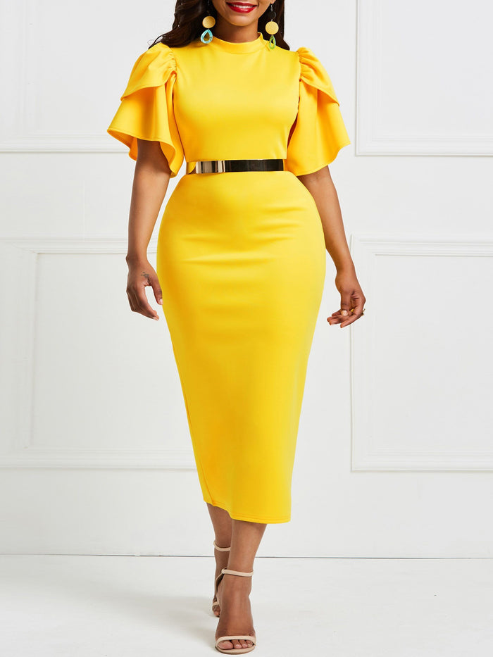 Yellow Ruffle Sleeve Patchwork Bodycon Dress(Without Waistband)