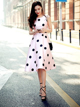 Sleeveless Polka Dots Expansion A Line Dress