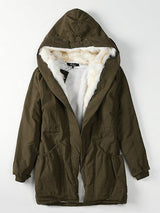 Mid-Length Loose Thick Hooded Coat
