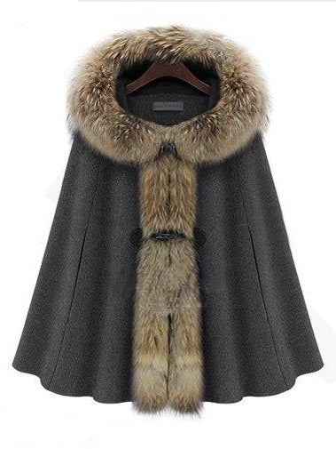 Batwing Faux Fur Collar Hooded Coat
