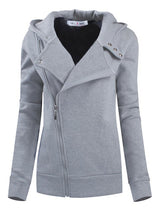 Plain Zipper Lapel Cool Hoodie