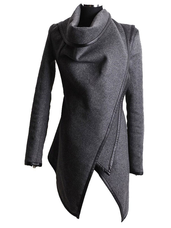 Mid-Length Cowl Neck Long Sleeves Jacket