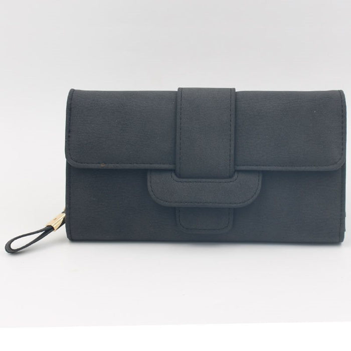 Concise Big Capacity Nubuck Leather Purse
