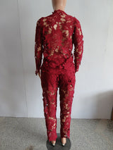 Lace Jacket and Pants Women's Suit