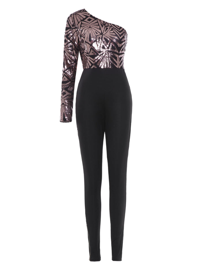 Oblique Collar Tight Sexy Women's Jumpsuits