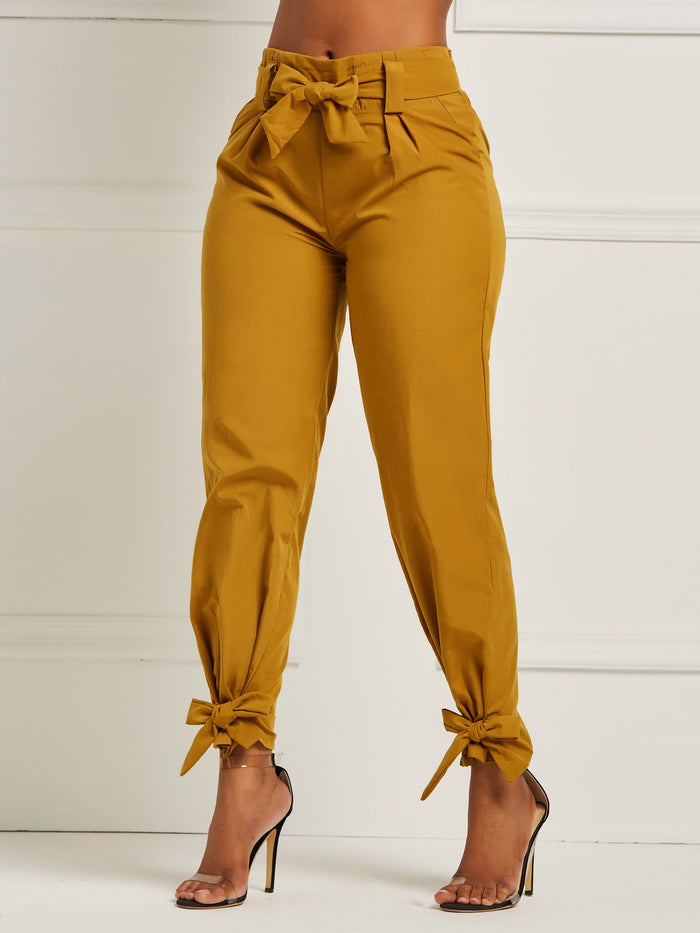Bowknot Plain Women's Pencil Pants