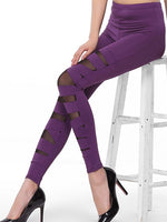 Solid Color Hollow Patchwork Leggings Pants