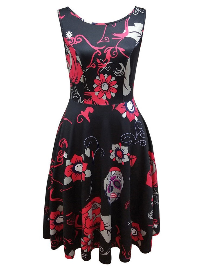 Floral Print Sleeveless Halloween Skater Dress