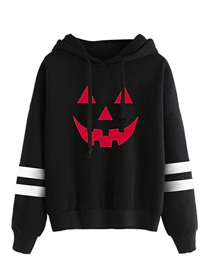 Halloween Stripe Long Sleeve Pullover Casual Hoodie