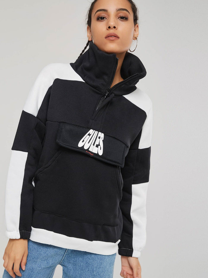 High Neck Color Block Wide Pocket Women's Hoodie