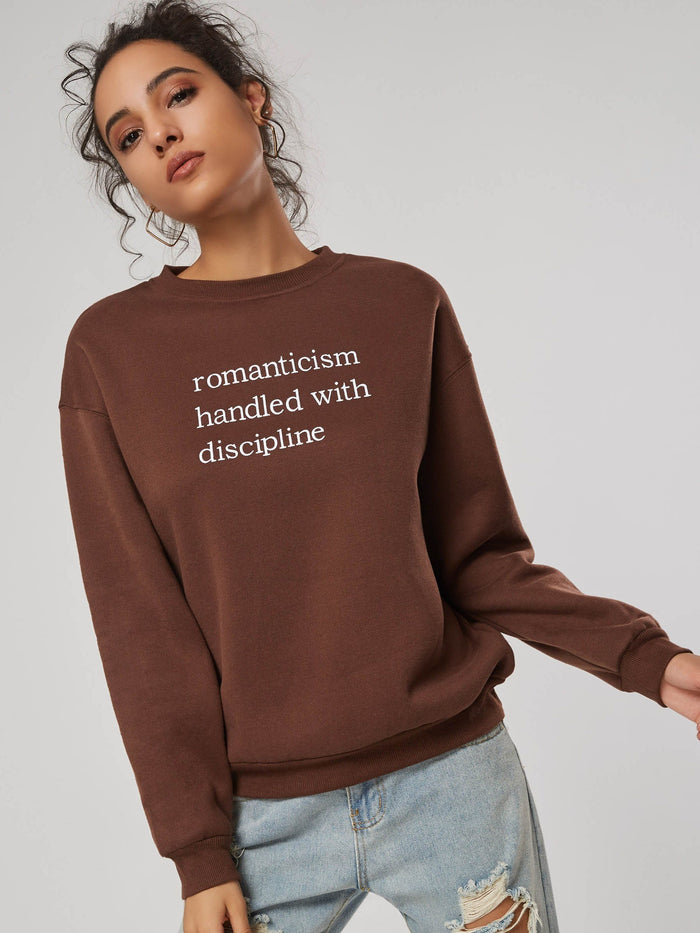 Letter Print Scoop Neck Loose Women's Sweatshirt