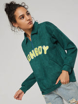 Quarter Zip Letter Print Lapel Women's Sweatshirt