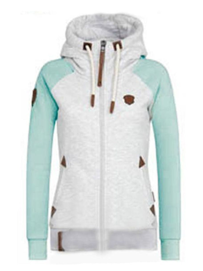HIGH NECK HOODED COLOR BLOCK ZIPPER UP STRAIGHT WOMEN'S HOODIE