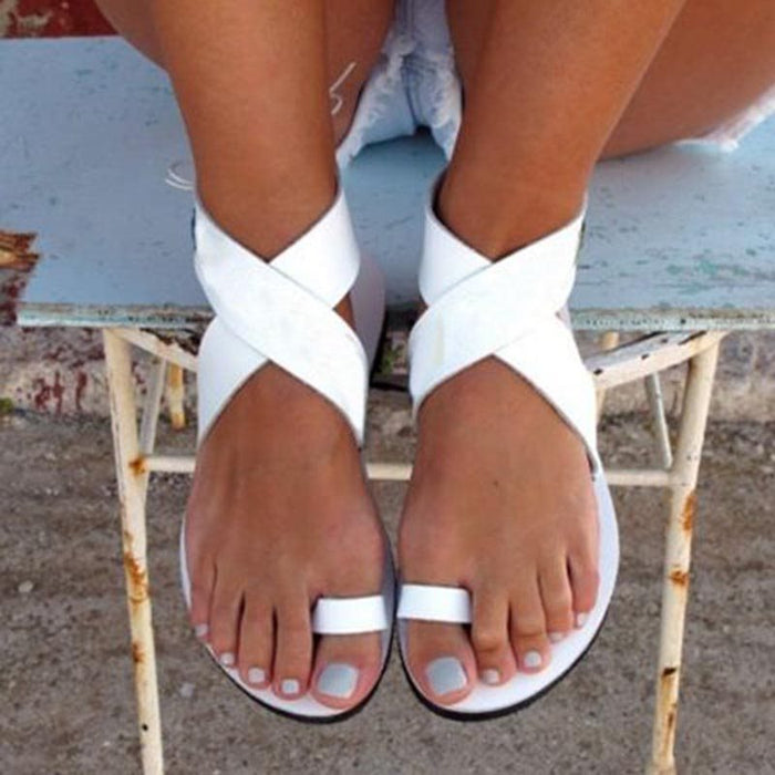 White Toe Ring Flat Sandals