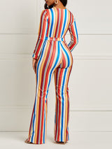 Striped Color Block Tunic Women's Jumpsuits