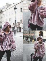 Women Purple Keep Warm Fleece Outwear Winter Fashion Hoodies Oversize Sweatshirts