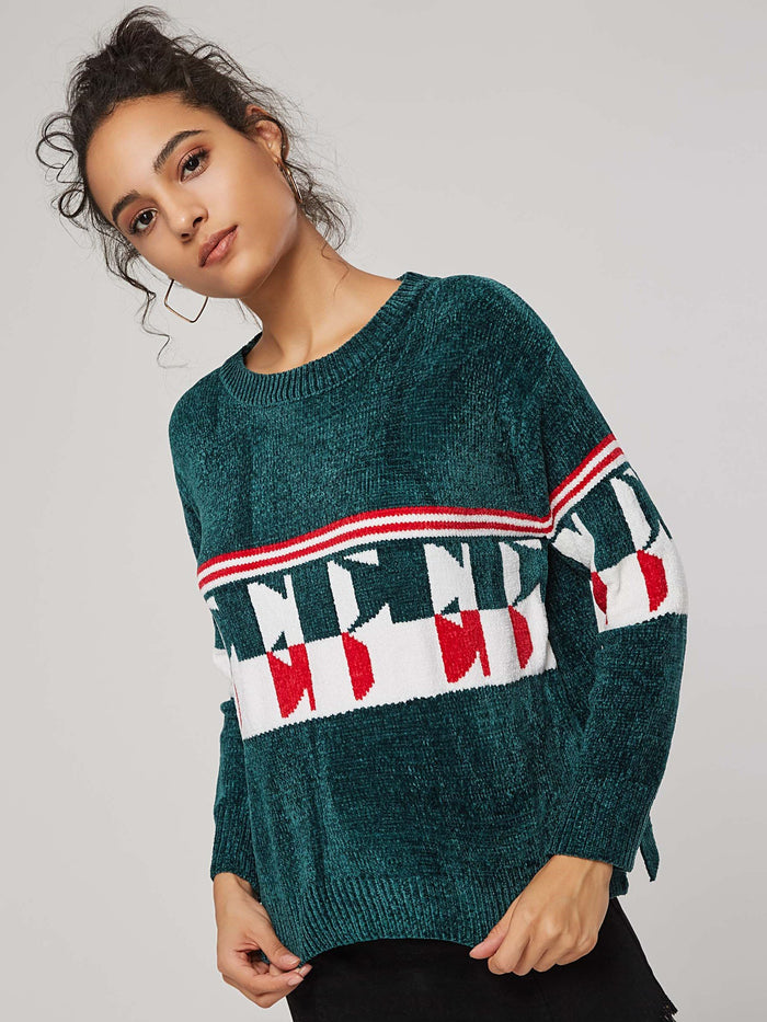 Geometric Print Scoop Neck Pullover Women's Sweater