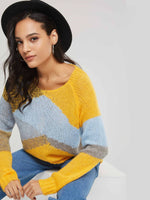 Color Block V Neck Long Sleeve Women's Sweater