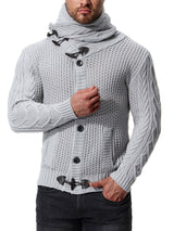Plain Button Warm Men's Sweater