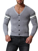 Stripe Single Brested Men's Sweater