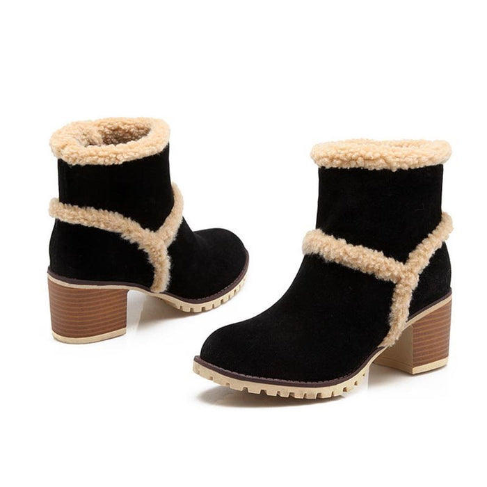 New Large Size Chunky Heel Artificial Suede Soft soled Non-Slip Snow Boots