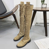 New European and American Round Head Crossed Knee-high Boots